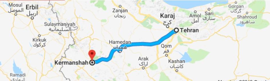 مسیر حمل بار به کرمانشاه