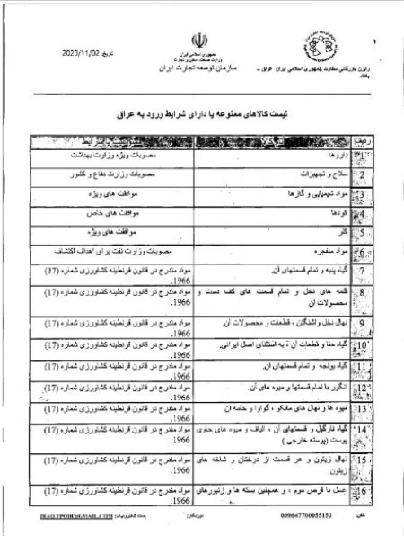ممنوعیات صادراتی عراق