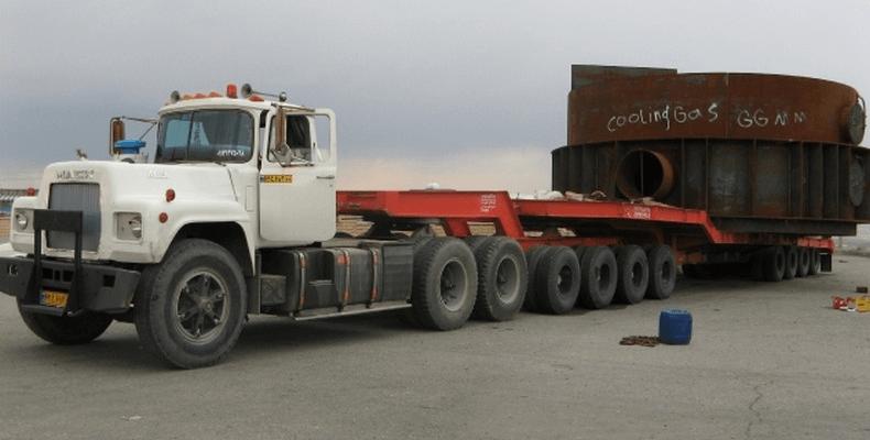 حمل و نقل بار و محموله های سنگین با تریلی کمرشکن